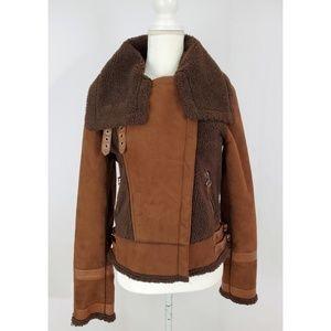 Topshop Brown Faux Shearling Moto Jacket 10 EUC